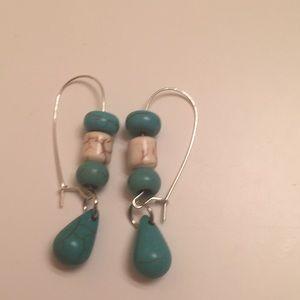 Teardrop Stone Pierced Earrings